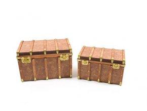 """červenec, sada / 2 kufry """"treasure"""" ze dřeva a pvc 40x25x25cm / 34x21x21cm"""