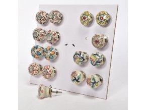keramická úchytka s kovovými částmi a ručně malovanými dekoracemi d.assort cm4,5x6,5