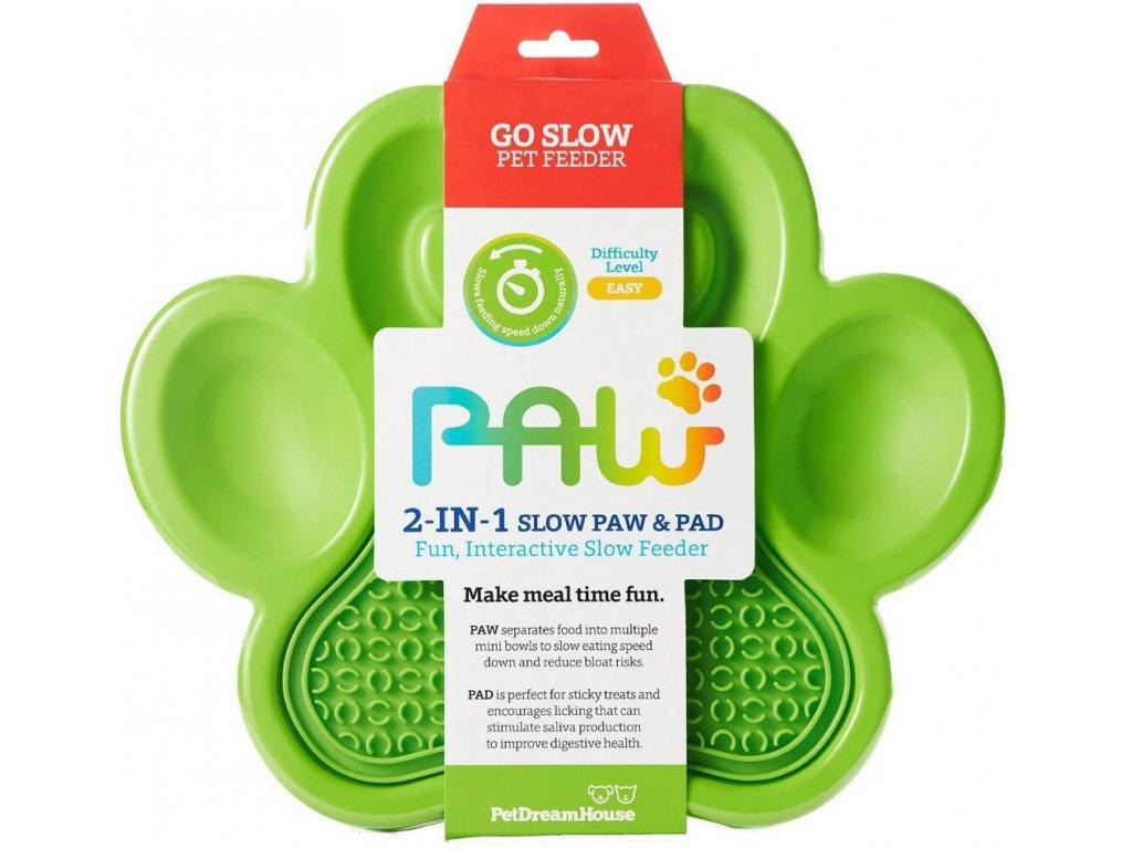 Zpomalovací miska PAW 2v1 - zelená