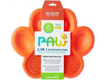 Zpomalovací miska PAW s lízací podložkou 2v1 - oranžová