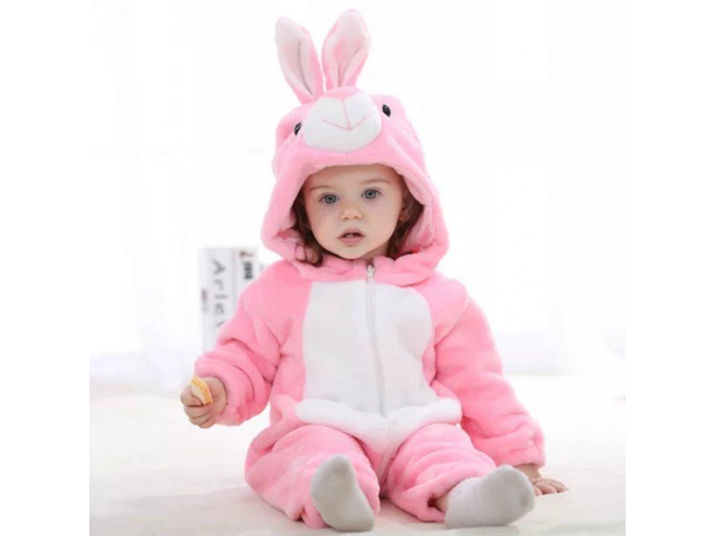 Overal pro miminko růžový Zajíc (Velikost 6-12 měsíců)