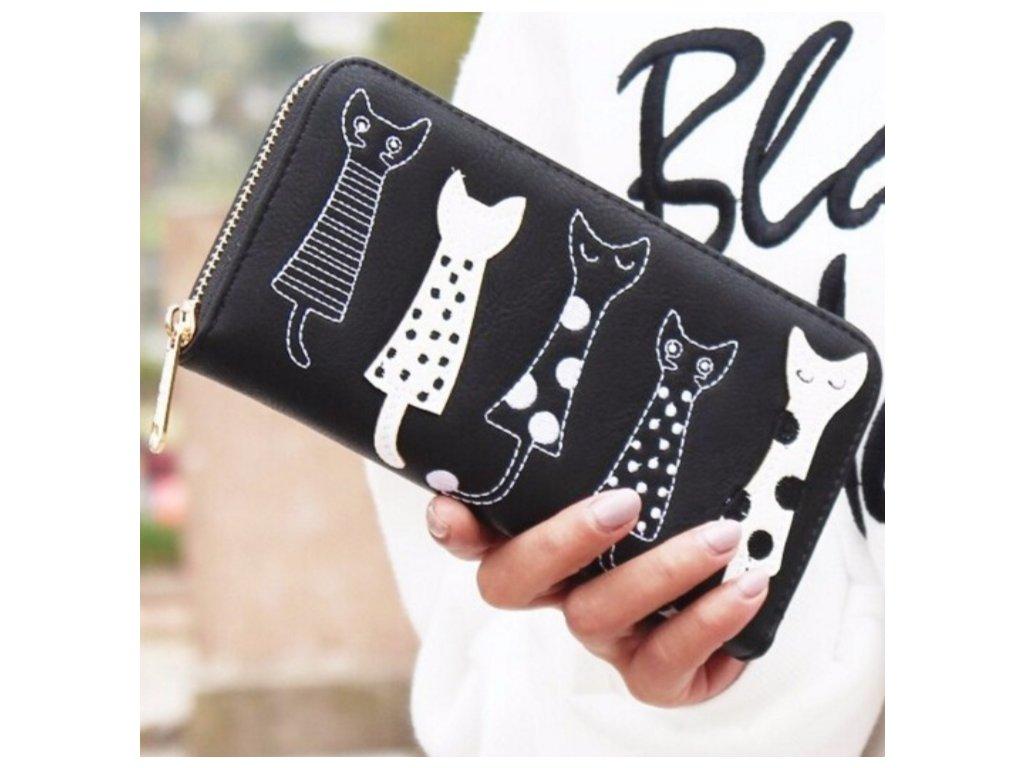 Dámská peněženka s kočičkami černá