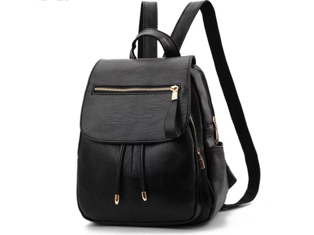 Dámský černý batoh PU kůže