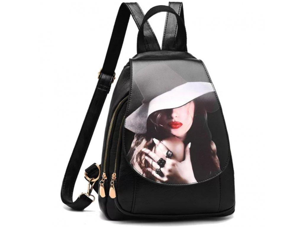 Luxusní černý batoh s potiskem (Barva Černá)