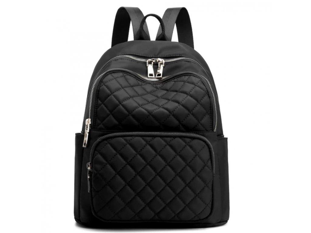 dámský batoh s přeskou na kufr černý