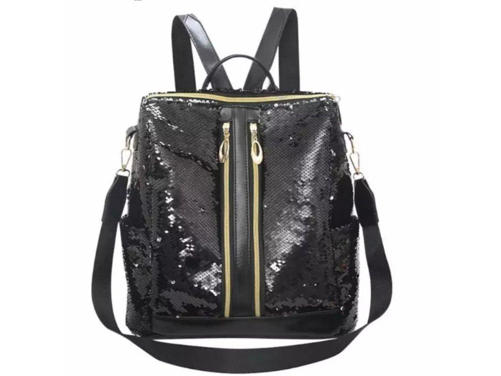 Černý batoh s flitry