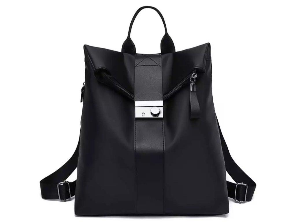 Černý nylonový dámský batoh