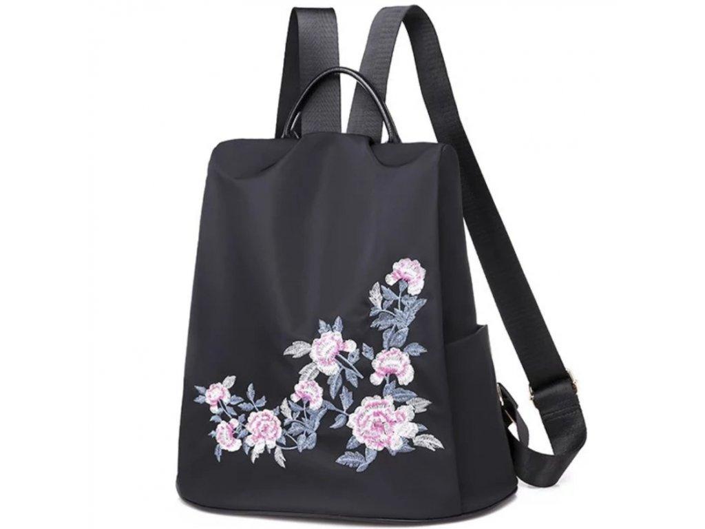 Originální kabelka-batoh 2v1 s výšivkami květin