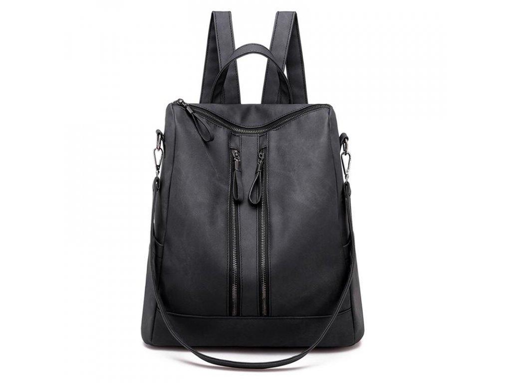 Dámský elegantní černý kožený batoh