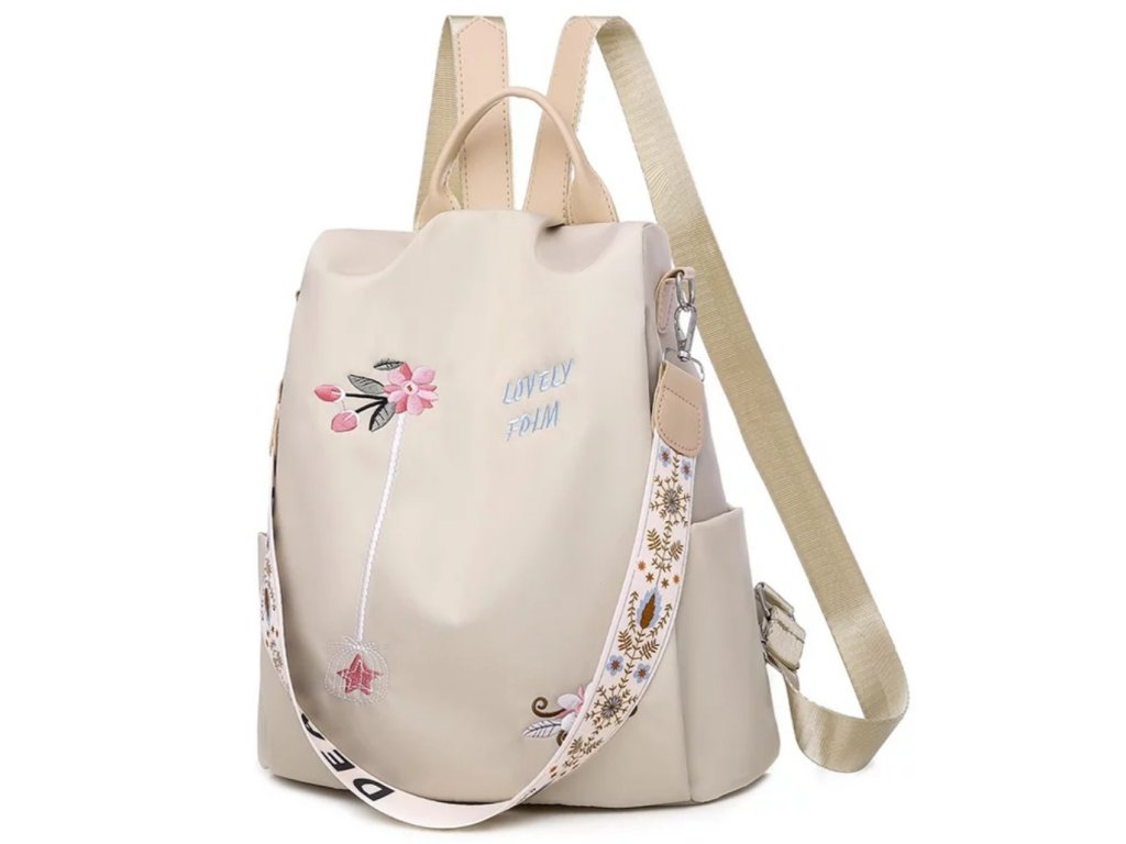 Dámský béžový batoh 2v1 s výšivkami květin