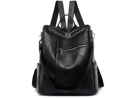 dámský černý kožený batoh