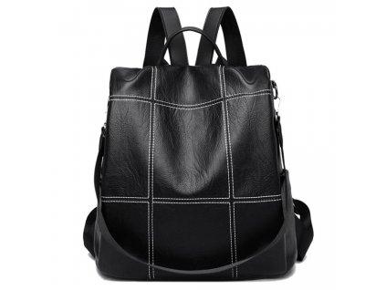 černý kožený dámský batoh