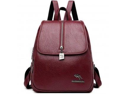 Dámský luxusní kožený batoh (Barva Vínová)