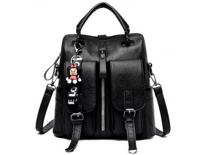 Dámský moderní kožený batoh 2v1 (Barva Černá)
