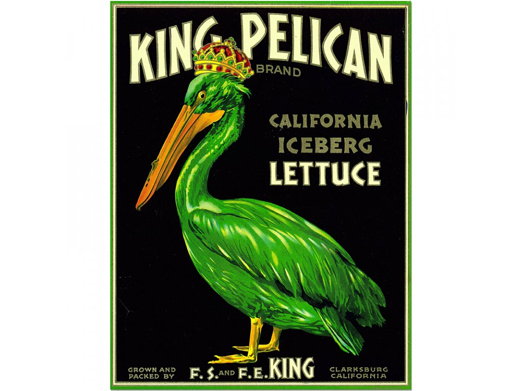 800 55x71cm king pelican california lettuce vintage produce poster