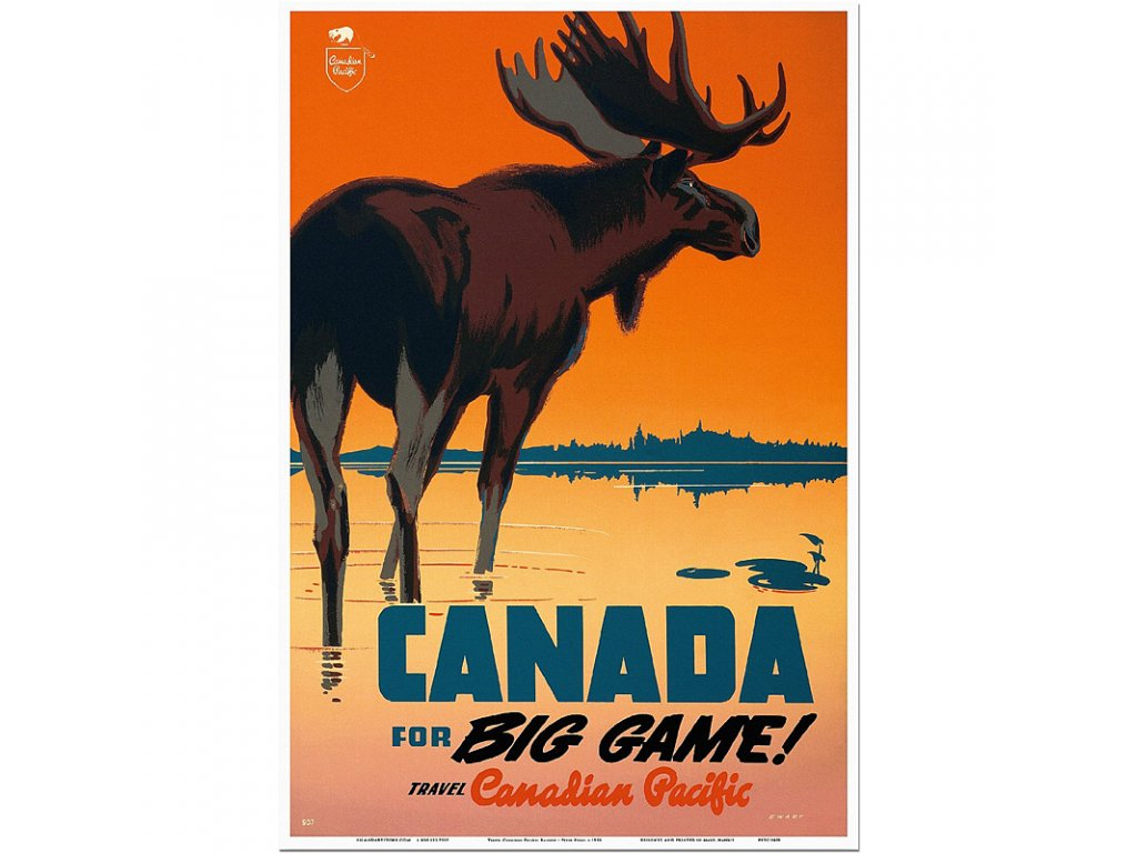 800 55x80cm Canada for big game travel canadian pacific vintage travel poster