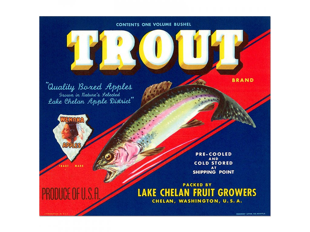 800 Vintage produce posters advertising trout