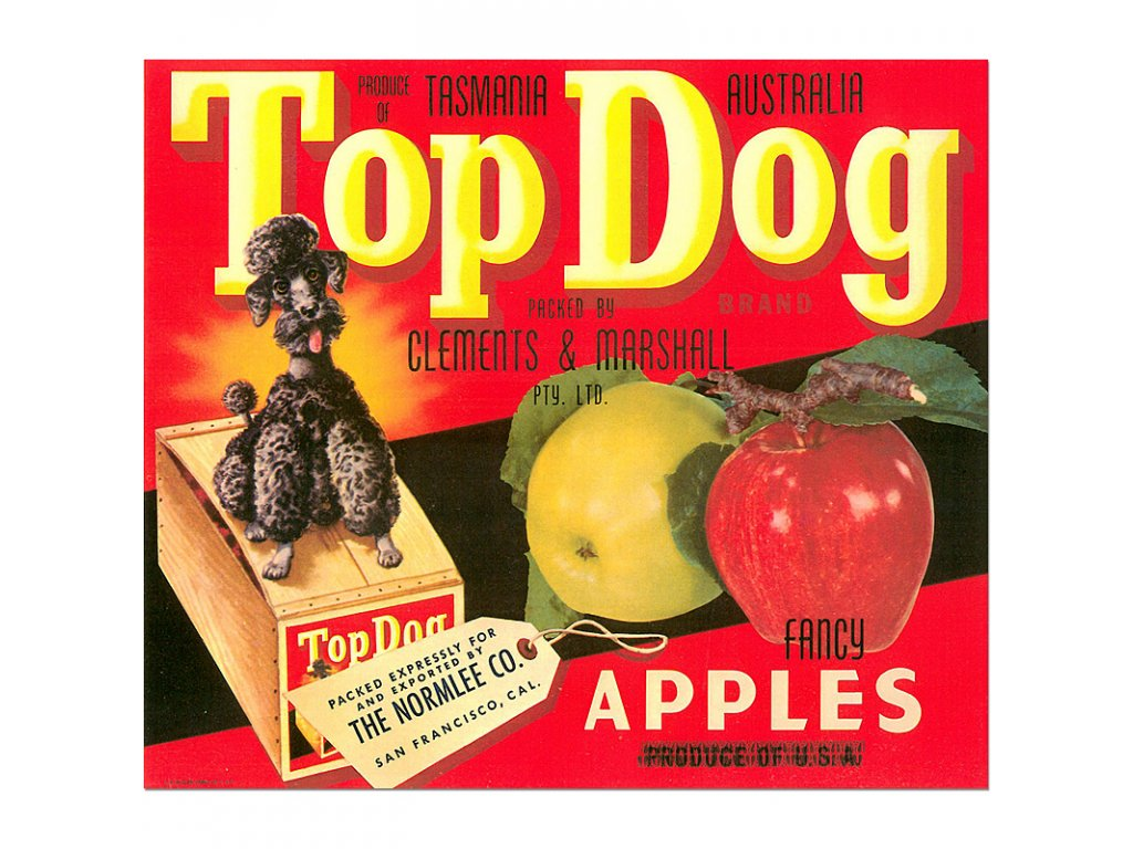 800 vintage produce posters advertising top dog