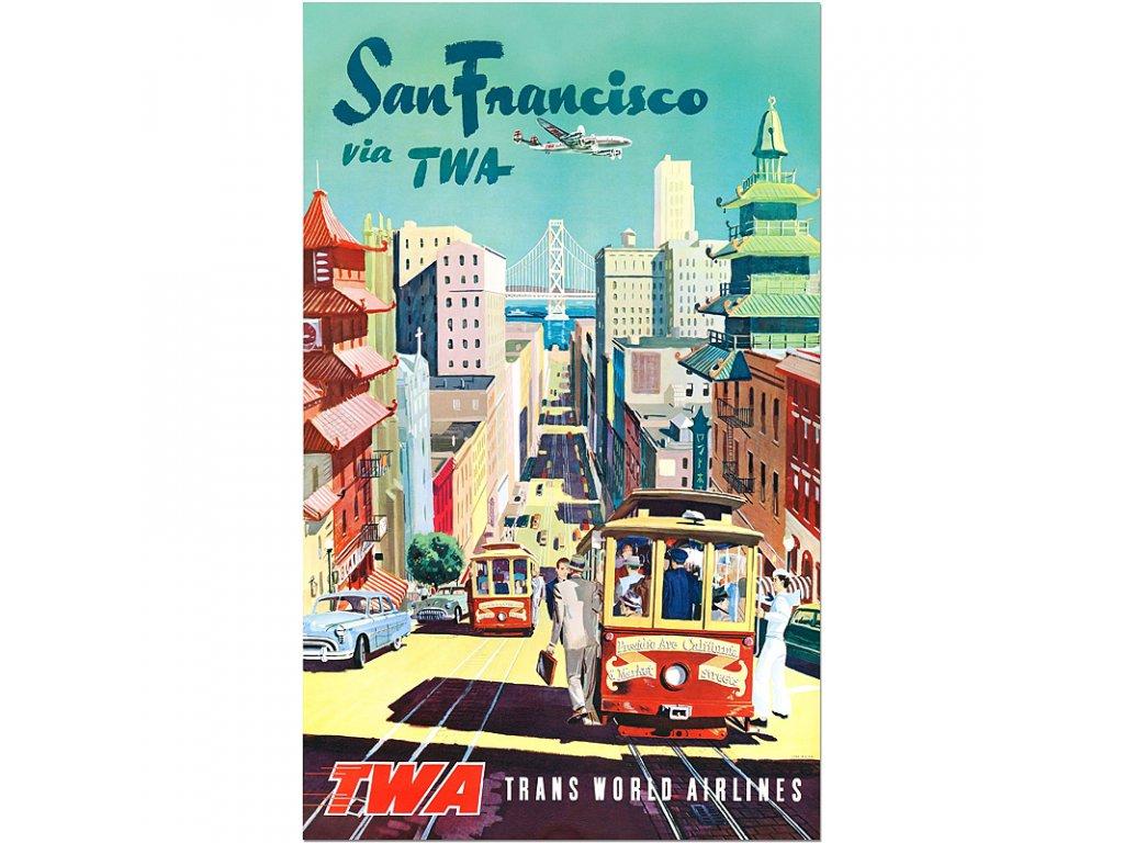 800 65x105cm San francisco via twa vintage travel poster