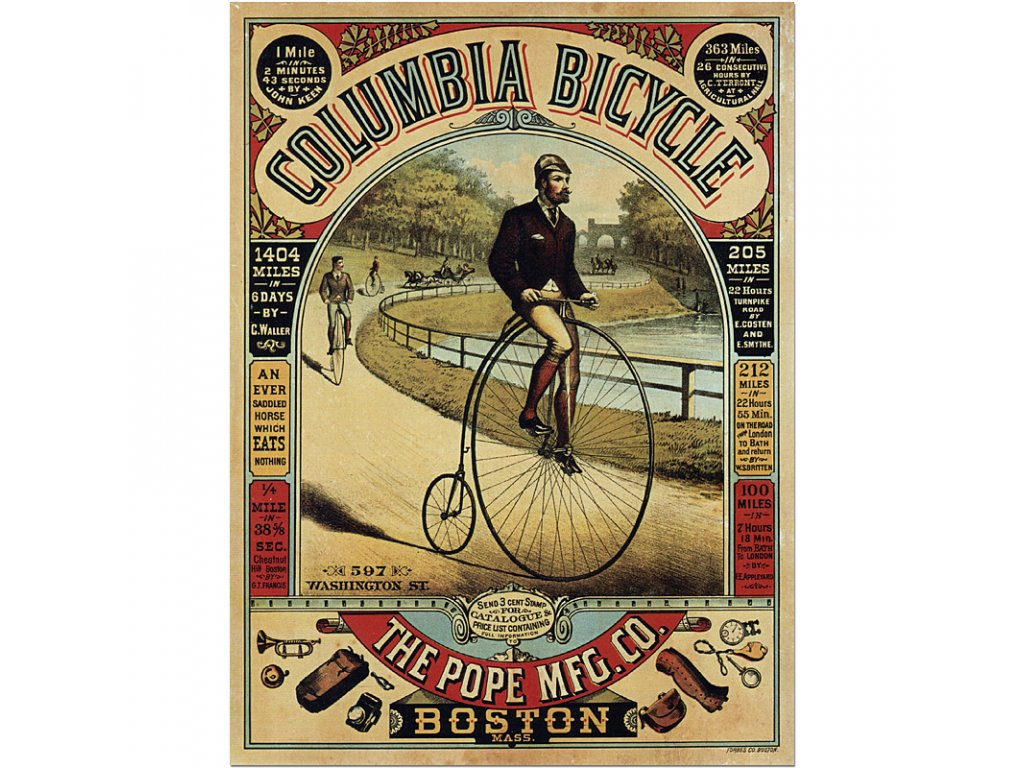 800 70x94cm Columbia Bicycle vintage advertising poster