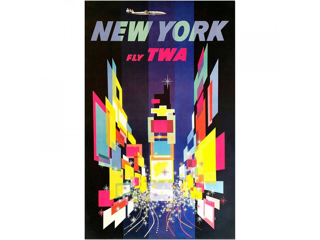 800 80x127cm twa new york 1956 david klein vintage travel poster