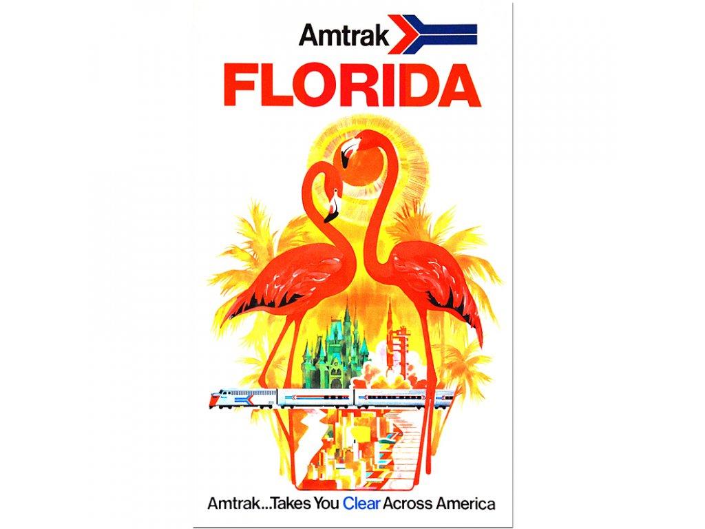 800 80x131cm Amtrak florida vintage travel posters