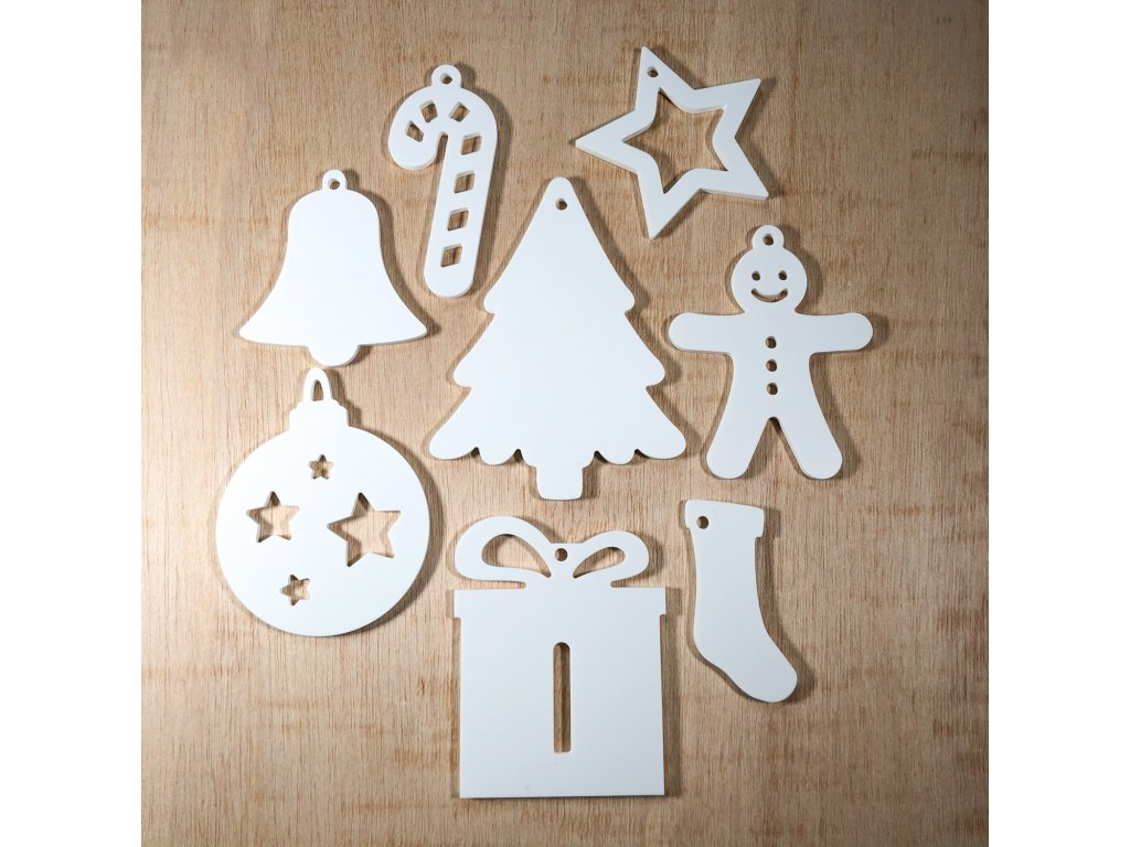 Vánoční set plastových ozdob - 8 ks