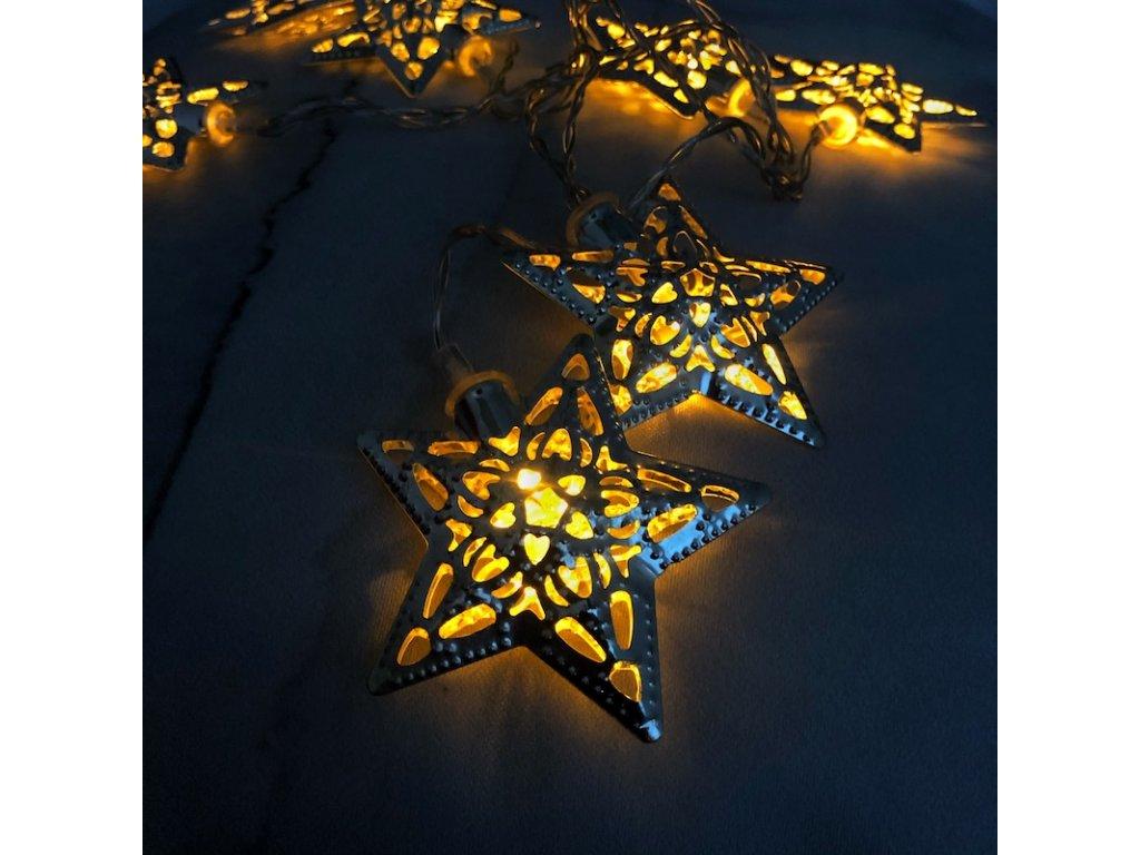 Světelný LED řetěz - stříbrné hvězdy