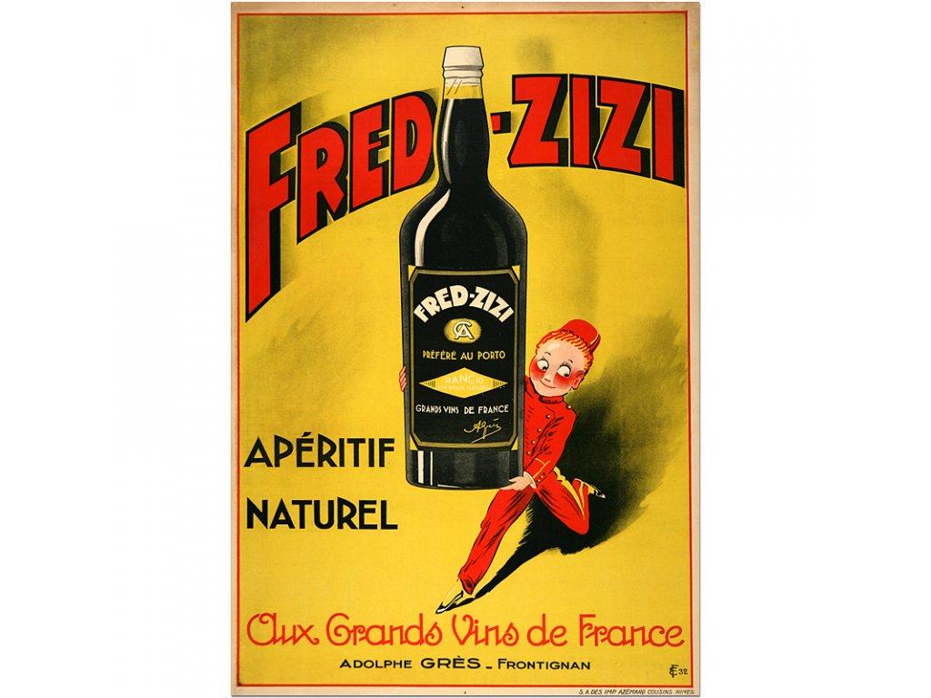 800 25x37cm Fred ziz aperitif wine french vintage poster