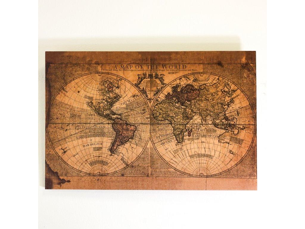Obraz na dřevě - Old world map
