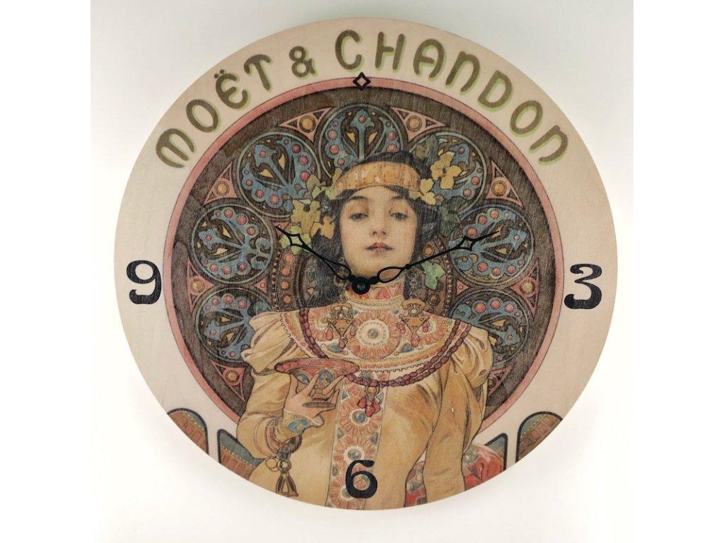 Dřevěné hodiny Alfons Mucha