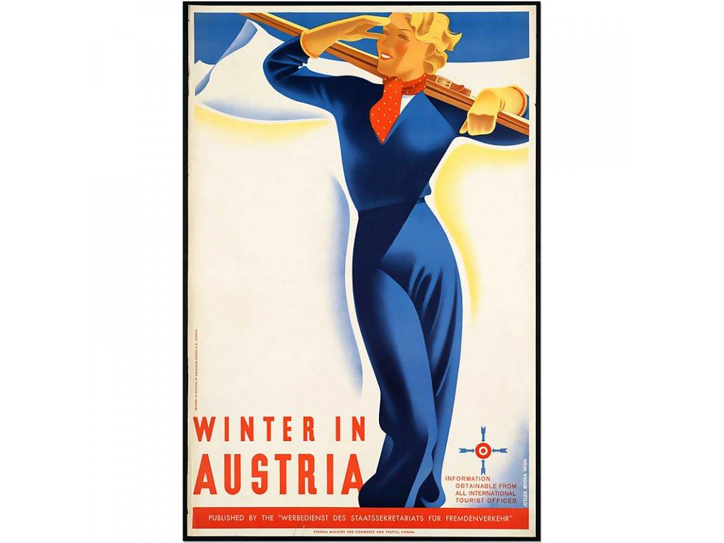 800 40x60cm Winter in austria vintage travel poster