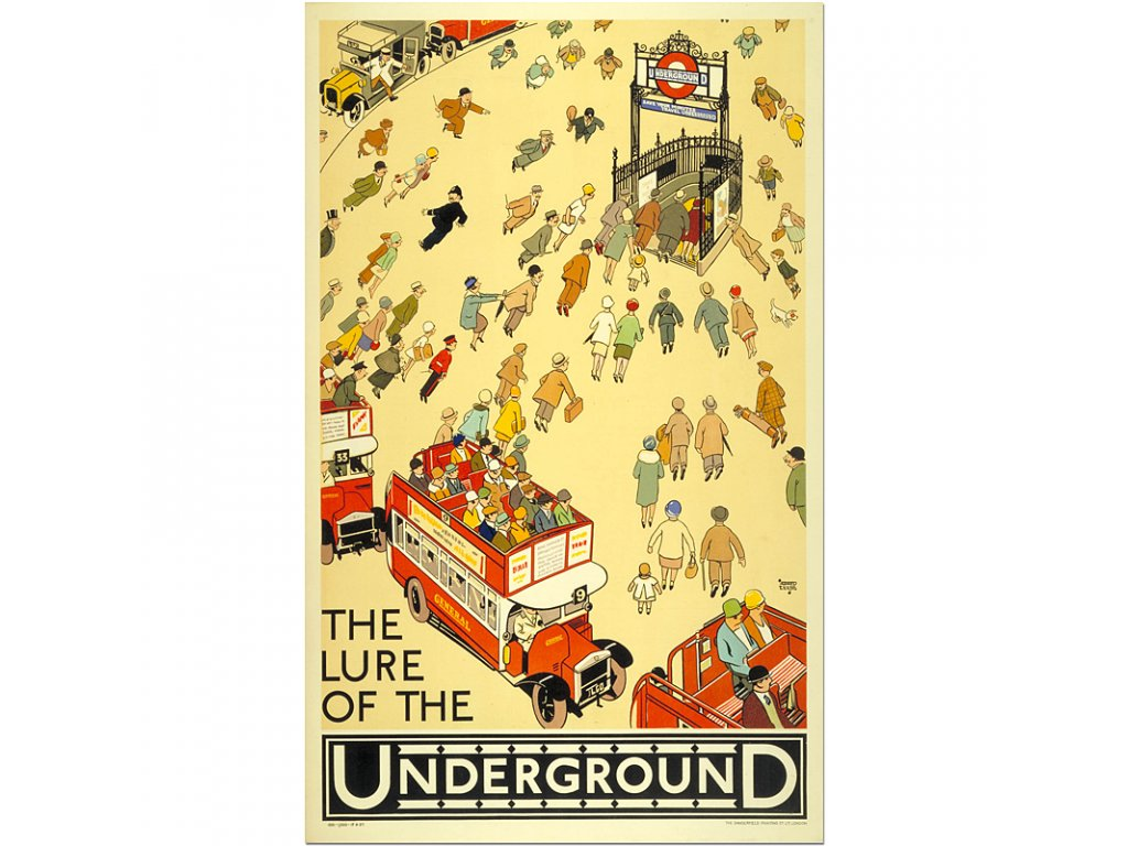800 40x65cm The lure of the underground by alfred leete 1927 vintage london travel poster