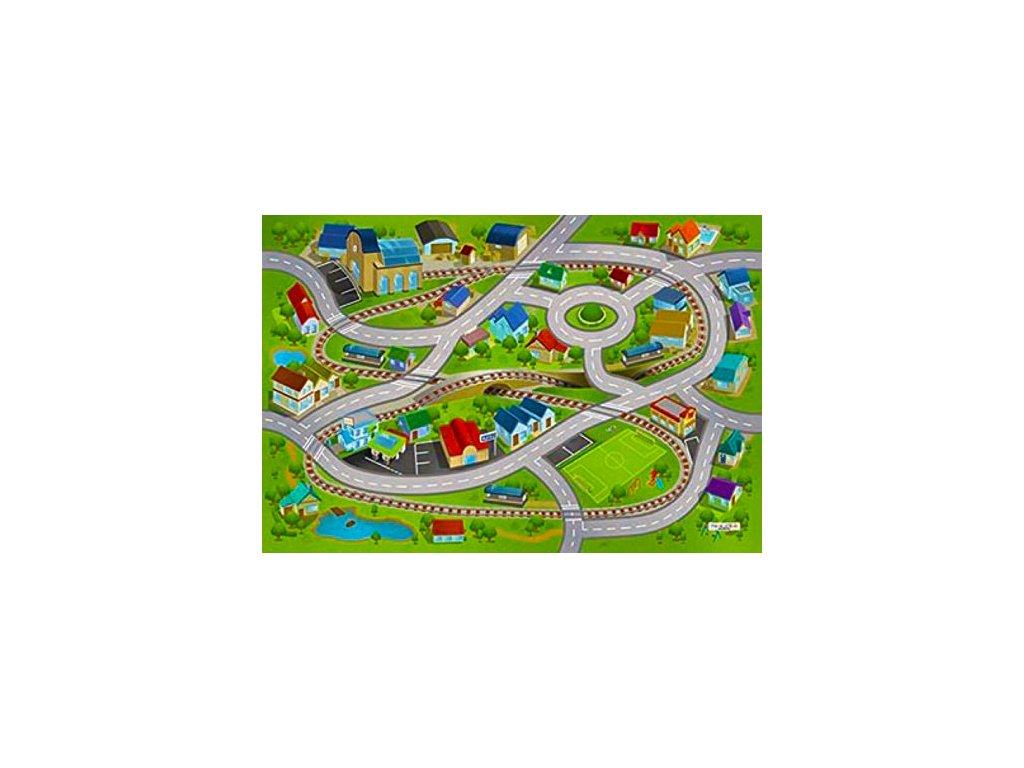 Hrací koberec Vlakové nádraží a městečko