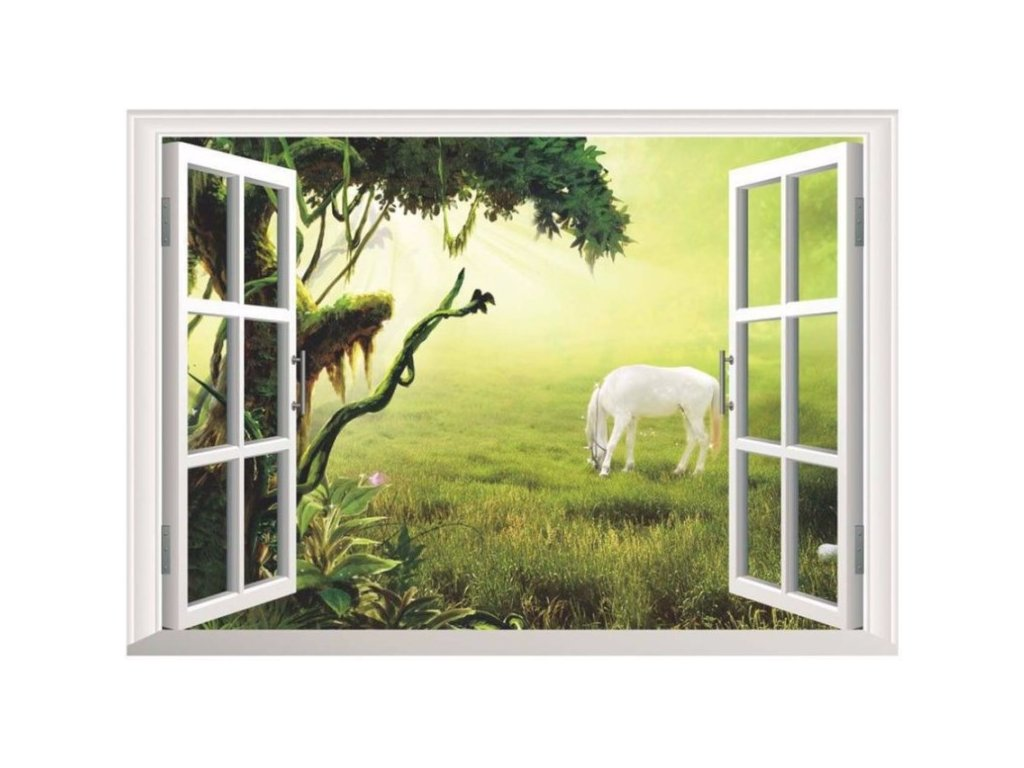 3D samolepka na zeď okno kůň