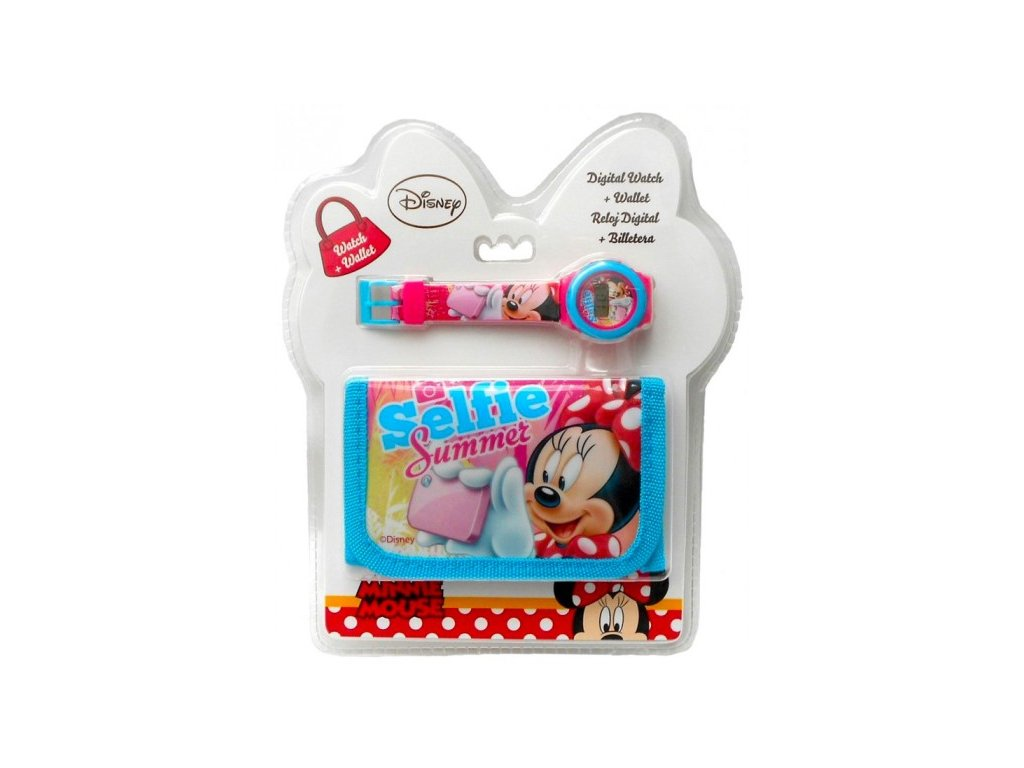 Dětská peněženka a hodinky Minnie Mouse dárkový set
