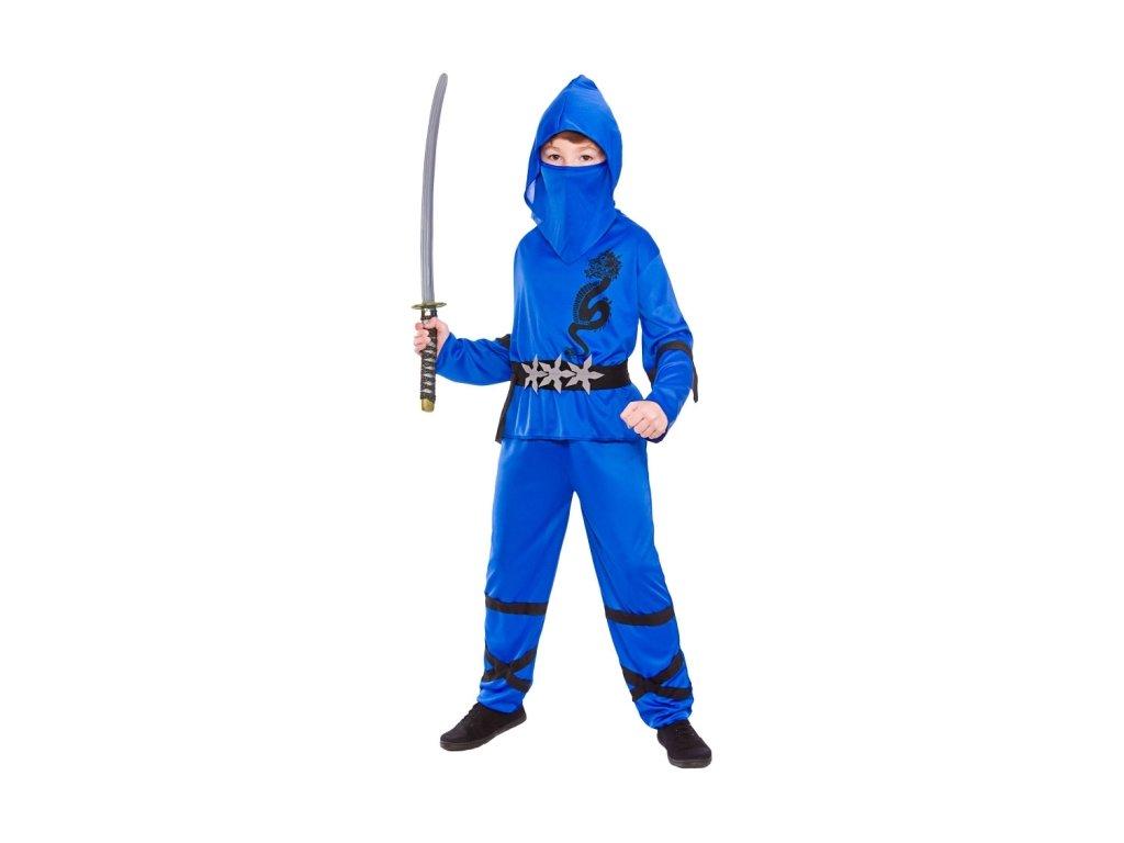 Dětský kostým Ninja modrý 4 dílný set  3117f7602fa