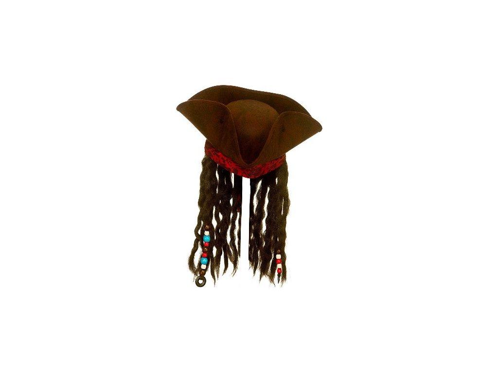 Pirátský klobouk deluxe s vlasy a šátkem Jack Sparrow 4096c8acff
