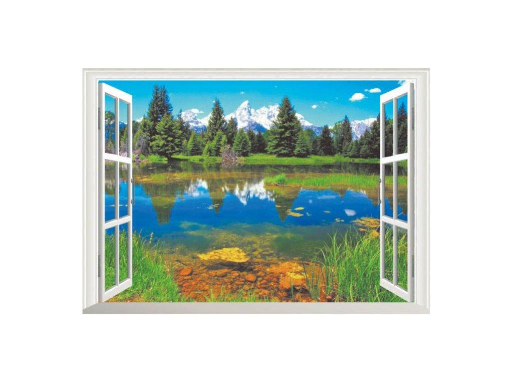 3D samolepka na zeď okno Lesní jezero