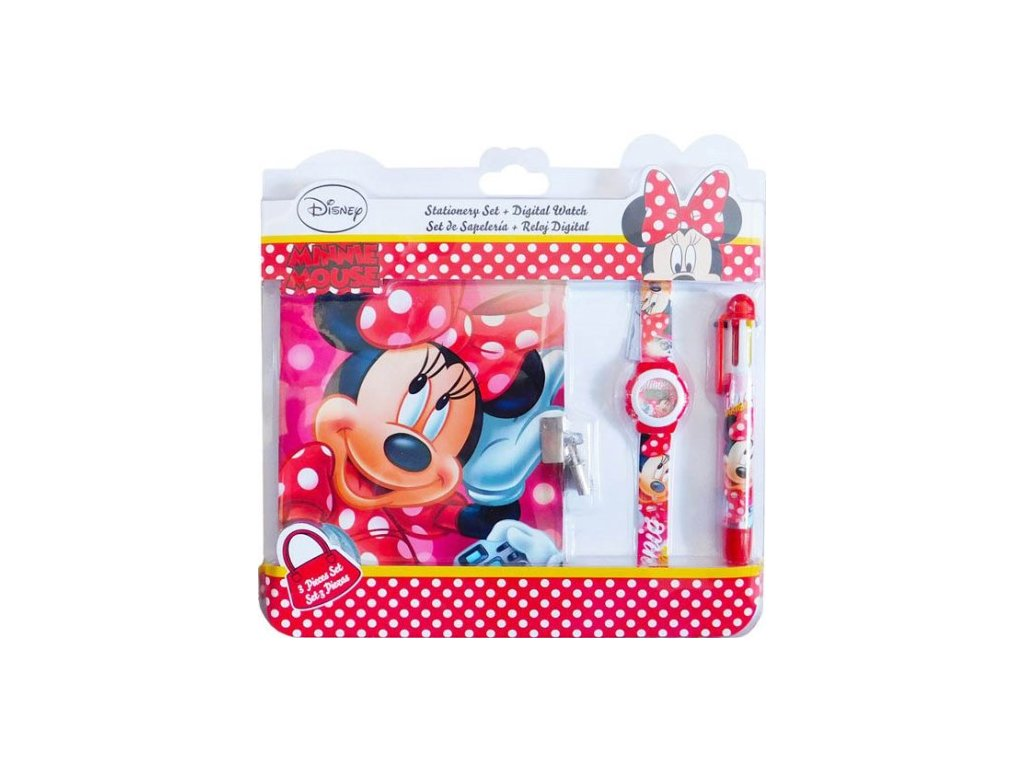 Dárková sada Minnie Mouse hodinky, tužka a notýsek
