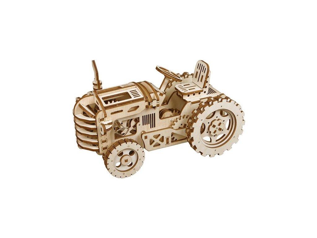 3D dřevěný mechanický puzzle traktor