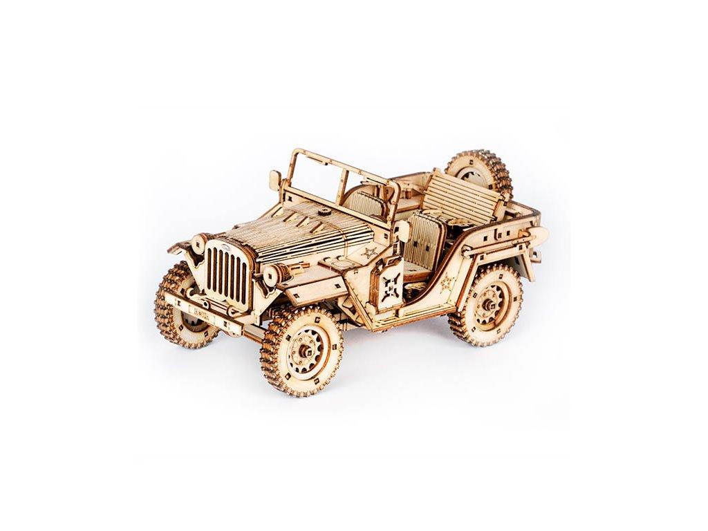 Robotime 3D dřevěné puzzle Armádní Jeep