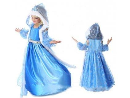Kostým / šaty Frozen Elsa Ledové království s kapucí - 3 dílný set vel. 100-150 (velikost šatů 100)