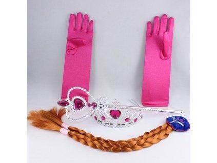 Sada Frozen Anna 4ks čelenka, hůlka, rukavice, cop