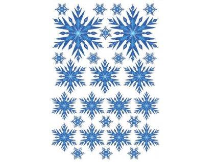 Samolepka na zeď sněhové vločky - modré