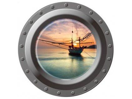 3D Samolepka na zeď lodní okno plachetnice