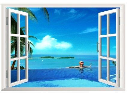 3D samolepka na zeď okno letní relax