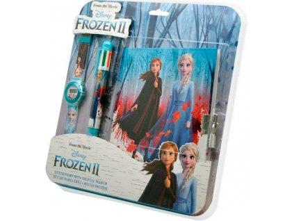 Diář na zámek + hodinky + tužka 6 barev Frozen 2