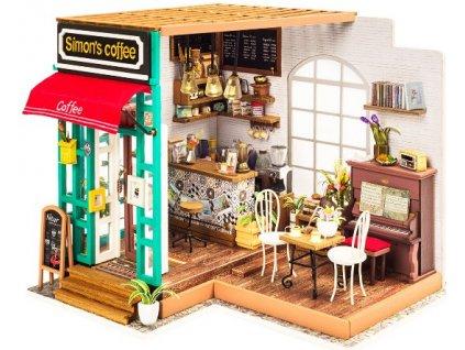 Stavebnice miniaturní domeček - Kavárna miniatura LED DIY