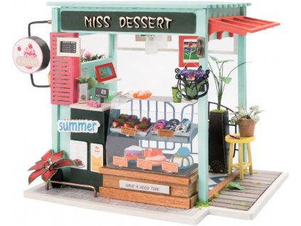 Stavebnice miniaturní domeček - Cukrárna miniatura LED DIY